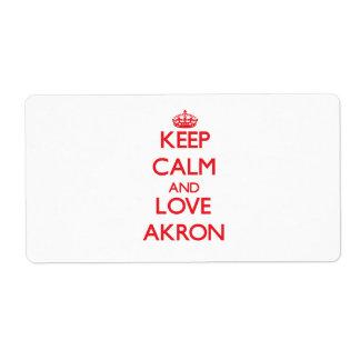 Guarde la calma y ame Akron Etiqueta De Envío