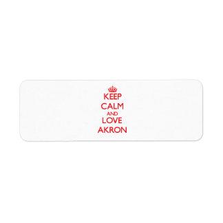 Guarde la calma y ame Akron Etiqueta De Remite