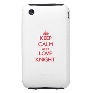 Guarde la calma y ame al caballero tough iPhone 3 protector