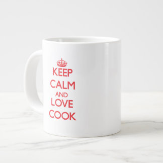 Guarde la calma y ame al cocinero taza jumbo