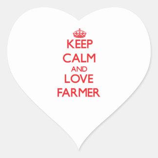 Guarde la calma y ame al granjero calcomania corazon personalizadas