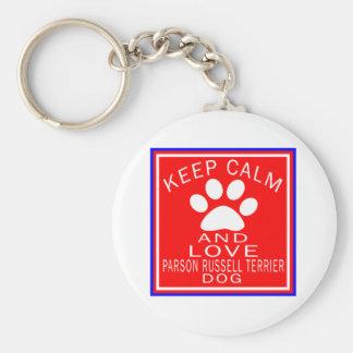 Guarde la calma y ame al párroco Russell Terrier Llaveros Personalizados