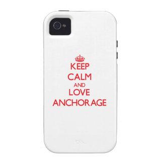 Guarde la calma y ame Anchorage iPhone 4/4S Funda