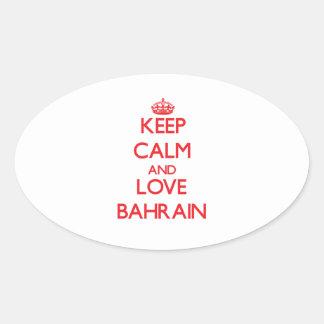 Guarde la calma y ame Bahrein Pegatina De Oval Personalizadas