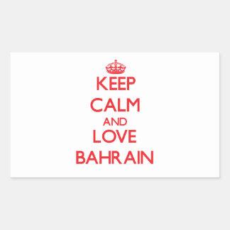 Guarde la calma y ame Bahrein Rectangular Pegatinas