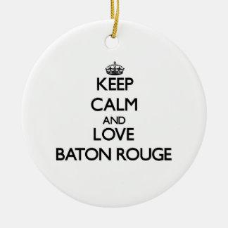 Guarde la calma y ame Baton Rouge Ornamento Para Reyes Magos