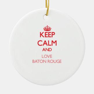 Guarde la calma y ame Baton Rouge Adornos De Navidad