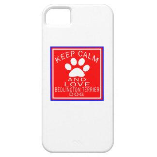 Guarde la calma y ame Bedlington Terrier iPhone 5 Carcasas