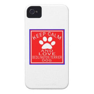 Guarde la calma y ame Bedlington Terrier Case-Mate iPhone 4 Funda