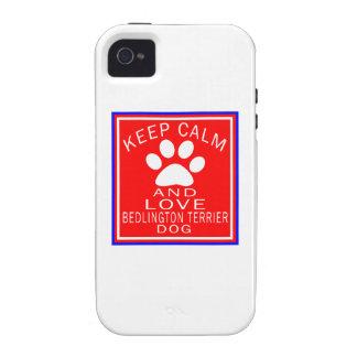 Guarde la calma y ame Bedlington Terrier Case-Mate iPhone 4 Fundas