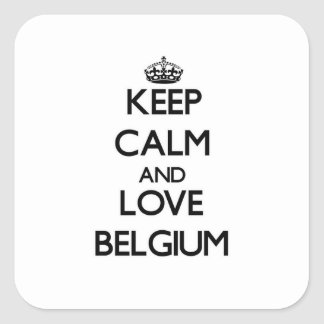 Guarde la calma y ame Bélgica Pegatina Cuadrada