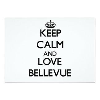 """Guarde la calma y ame Bellevue Invitación 5"""" X 7"""""""