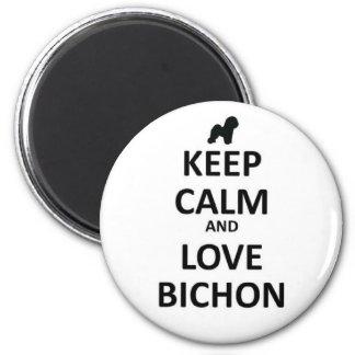 Guarde la calma y ame Bichon Imán Redondo 5 Cm