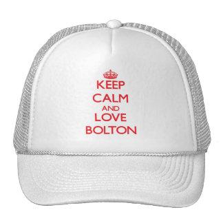 Guarde la calma y ame Bolton Gorros