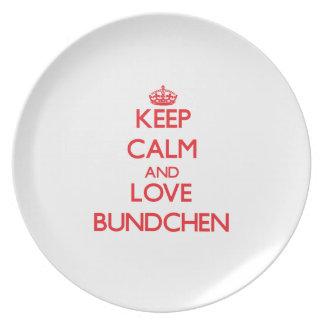 Guarde la calma y ame Bundchen Platos Para Fiestas