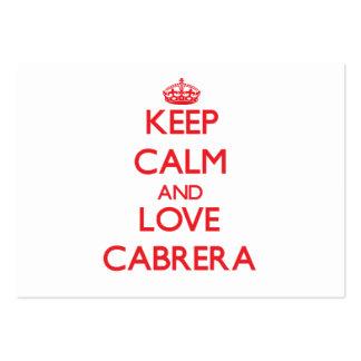 Guarde la calma y ame Cabrera Plantillas De Tarjetas De Visita