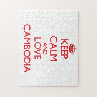 Guarde la calma y ame Camboya Rompecabezas Con Fotos