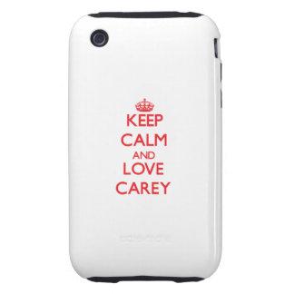 Guarde la calma y ame Carey Tough iPhone 3 Protector