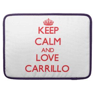 Guarde la calma y ame Carrillo Fundas Para Macbooks
