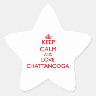 Guarde la calma y ame Chattanooga Pegatinas Forma De Estrella Personalizadas