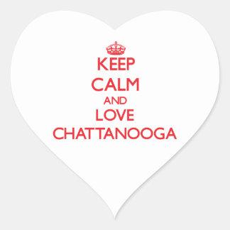 Guarde la calma y ame Chattanooga Colcomanias De Corazon Personalizadas