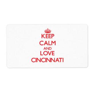 Guarde la calma y ame Cincinnati Etiqueta De Envío