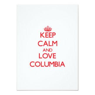 """Guarde la calma y ame Columbia Invitación 5"""" X 7"""""""