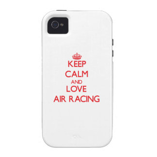 Guarde la calma y ame competir con del aire iPhone 4 carcasas