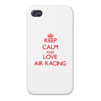 Guarde la calma y ame competir con del aire iPhone 4/4S carcasas