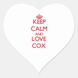 Guarde la calma y ame $cox pegatina en forma de corazón