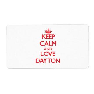 Guarde la calma y ame Dayton Etiqueta De Envío
