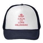 Guarde la calma y ame Delaware Gorros