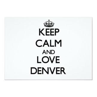 """Guarde la calma y ame Denver Invitación 5"""" X 7"""""""