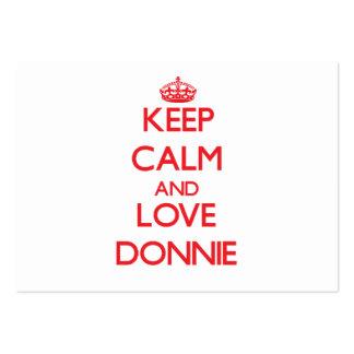 Guarde la calma y ame Donnie Plantilla De Tarjeta De Visita