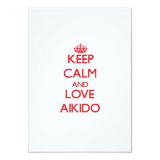 Guarde la calma y ame el Aikido Invitación 12,7 X 17,8 Cm