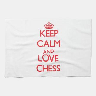 Guarde la calma y ame el ajedrez toalla de cocina