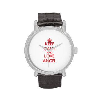 Guarde la calma y ame el ángel relojes de mano