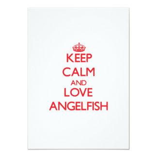 """Guarde la calma y ame el Angelfish Invitación 5"""" X 7"""""""