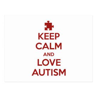 Guarde la calma y ame el autismo tarjeta postal