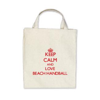 Guarde la calma y ame el balonmano de la playa bolsa