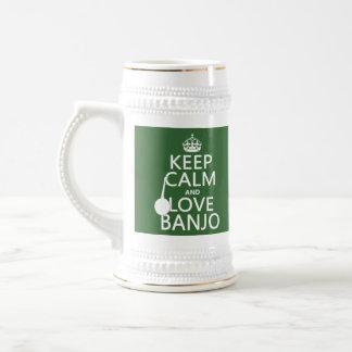 Guarde la calma y ame el banjo (cualquier color de tazas