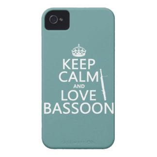 Guarde la calma y ame el Bassoon cualquier color iPhone 4 Cárcasa