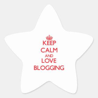 Guarde la calma y ame el Blogging Calcomanía Forma De Estrella Personalizada