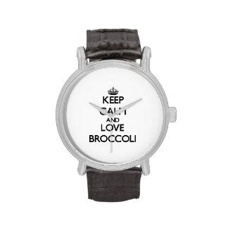 Guarde la calma y ame el bróculi relojes de pulsera