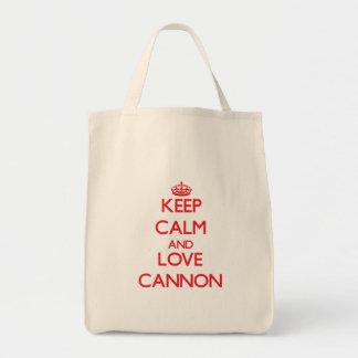 Guarde la calma y ame el cañón bolsa de mano