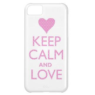 Guarde la calma y ame el caso rosado del iPhone 5 Funda iPhone 5C