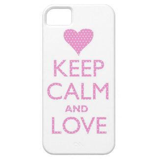 Guarde la calma y ame el caso rosado del iPhone 5 Funda Para iPhone SE/5/5s