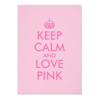 """Guarde la calma y ame el color rosado de encargo invitación 5"""" x 7"""""""