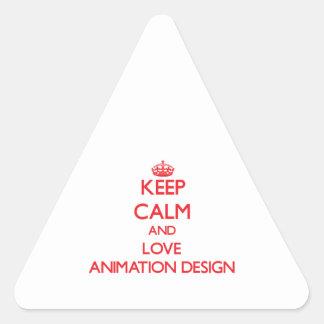 Guarde la calma y ame el diseño de la animación calcomania triangulo
