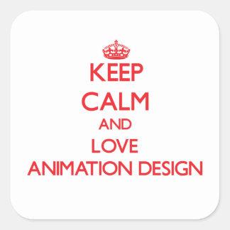 Guarde la calma y ame el diseño de la animación pegatinas cuadradas personalizadas